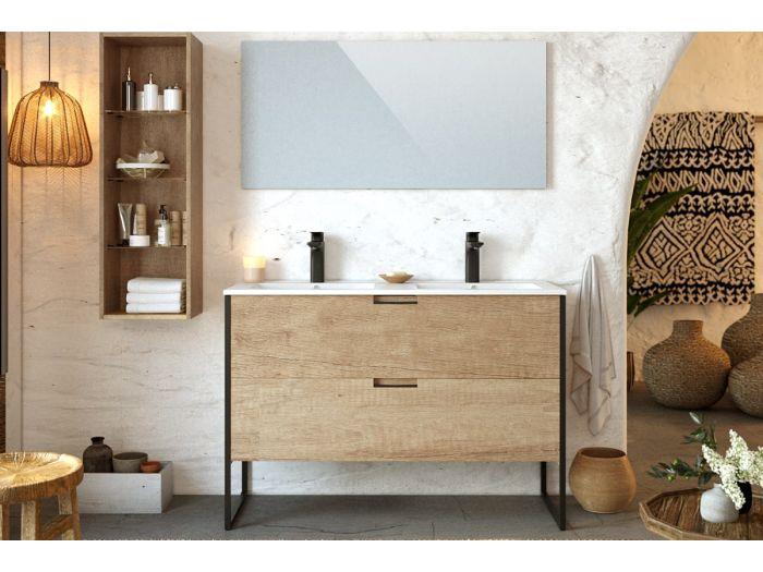 Ensemble de salle de bain 120 cm avec colonne MAWA chêne clair